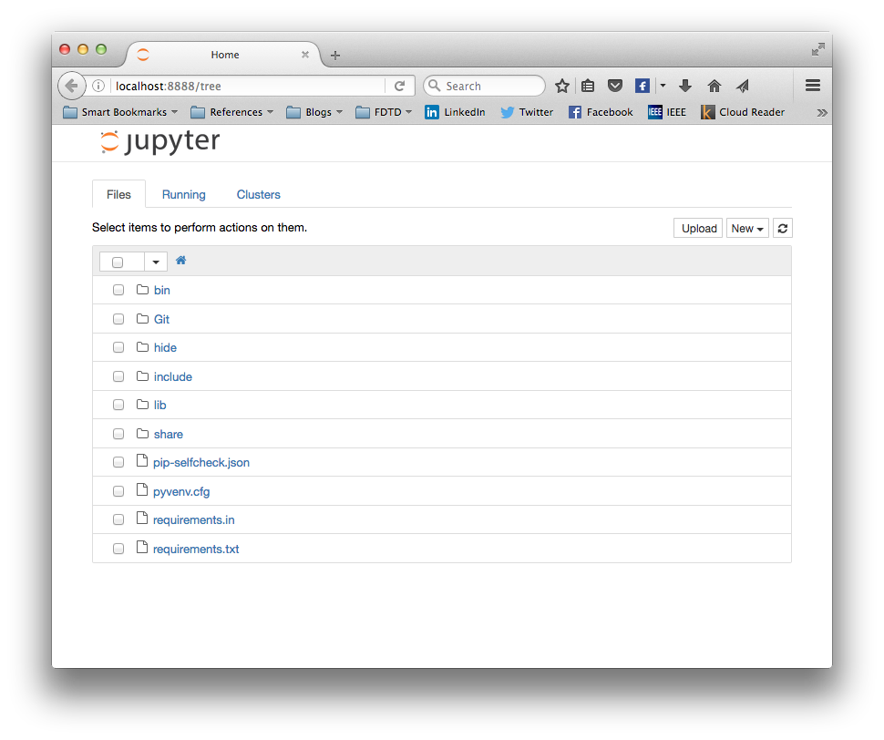 Jupyter opening screen